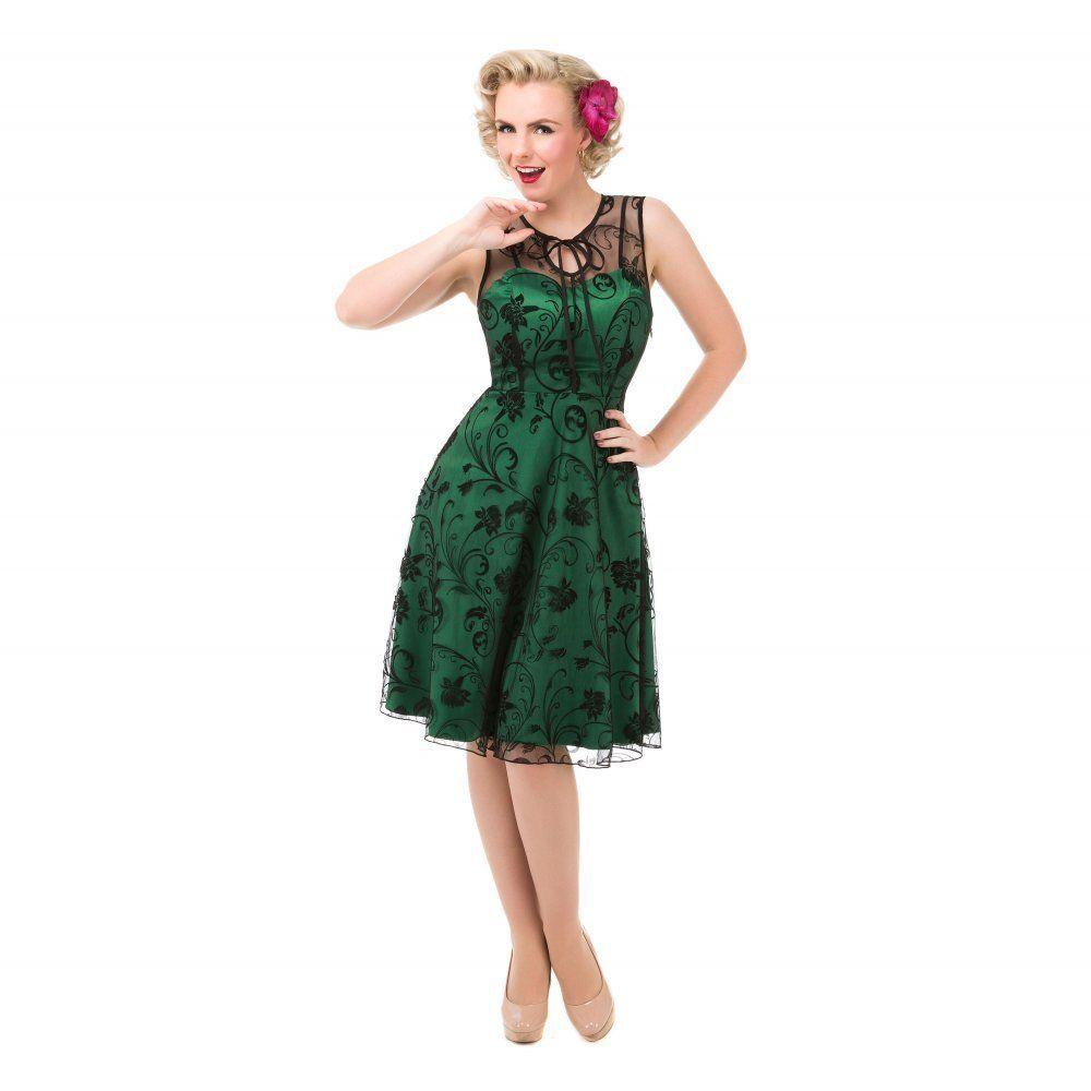28735bee0d953 Lindy Bop 40er Jahre Vintage Blumen Flock Swing Kleid -Frankie Jean- Grün