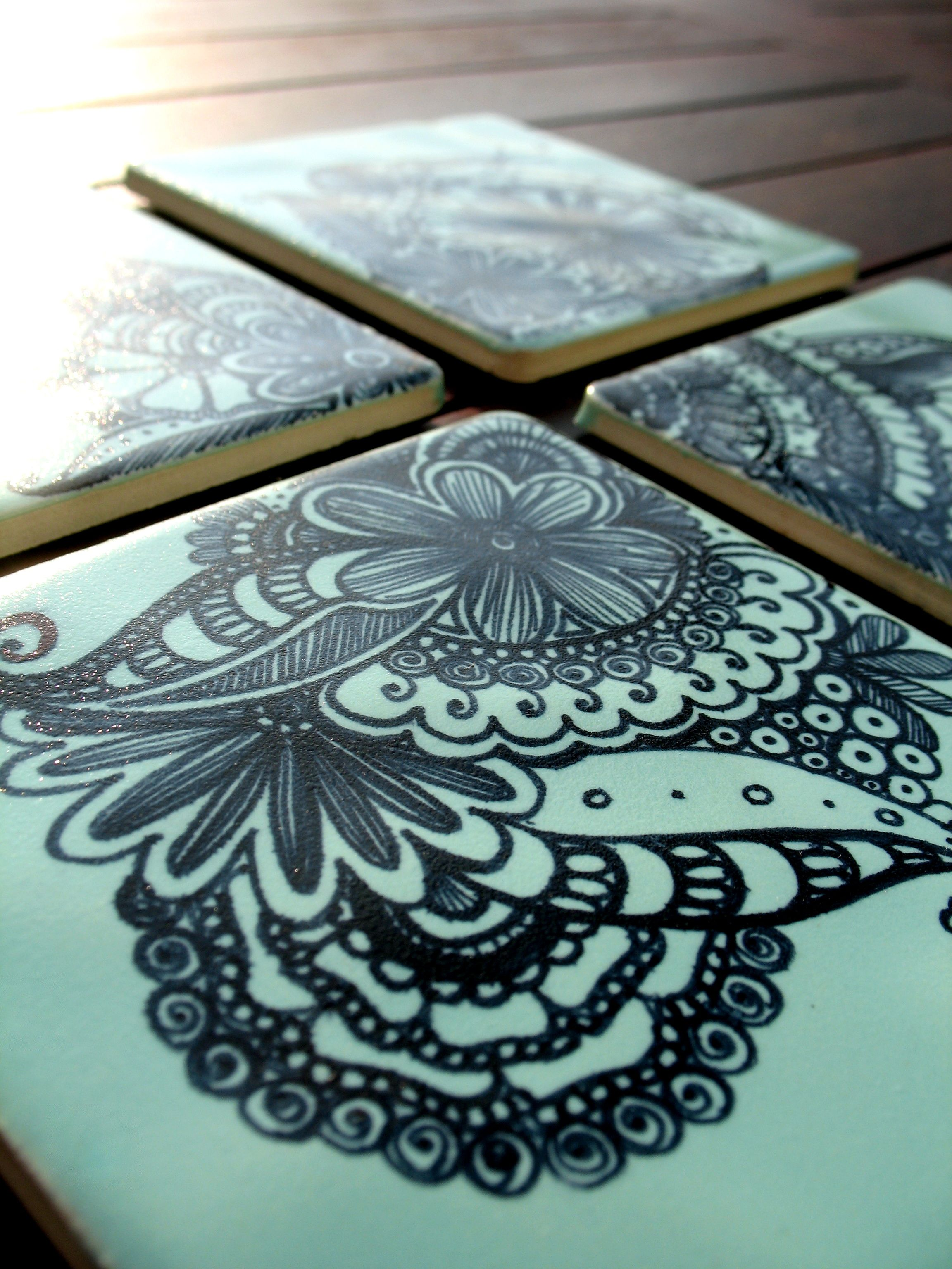 Green Tile Coasters