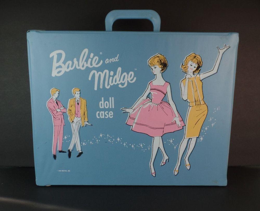 Original Vtg 1963 BARBIE & MIDGE Blue Doll Double Carrying Case Closet Wardrobe