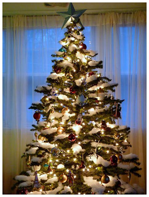fake snow on christmas tree
