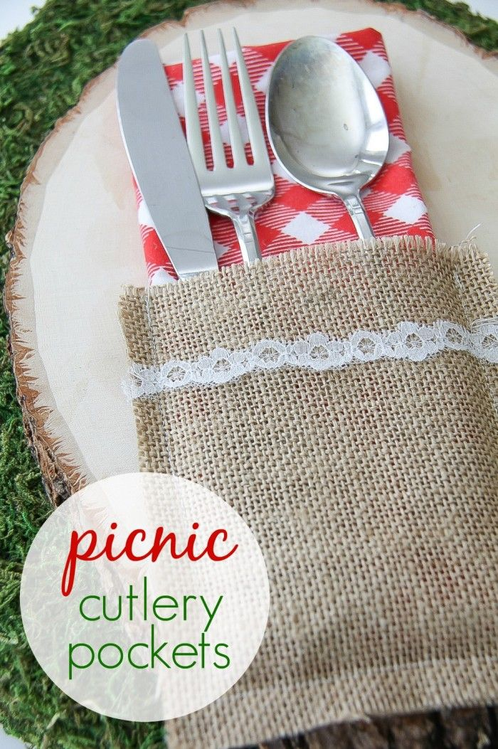Burlap Lace Diy Cutlery Pockets Share Your Craft Pinterest