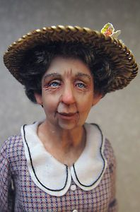OOAK Miniature Dollhouse Doll, Lady with Hat