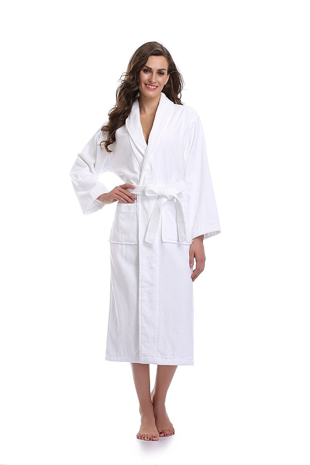 af2118fbed7d Women s Terry Cotton Bathrobe Towel Cloth Robe - White - CB12NTWNUKJ ...