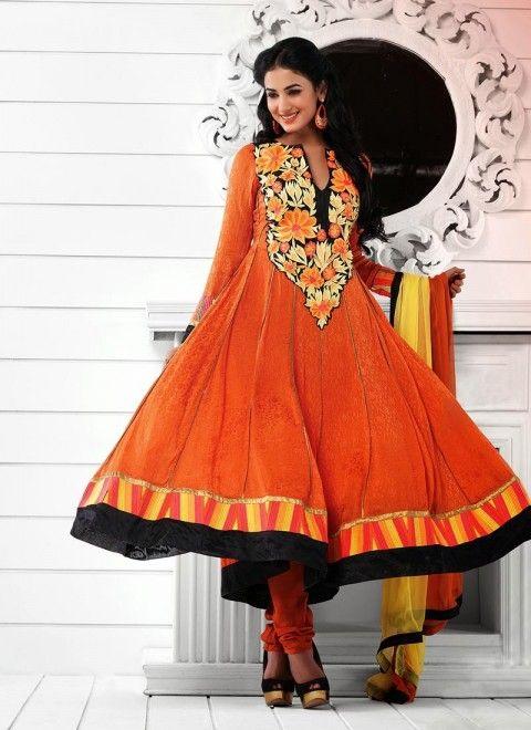 8a96c0ce3 Orange Sonal Chauhan Long Length Anarkali Suit