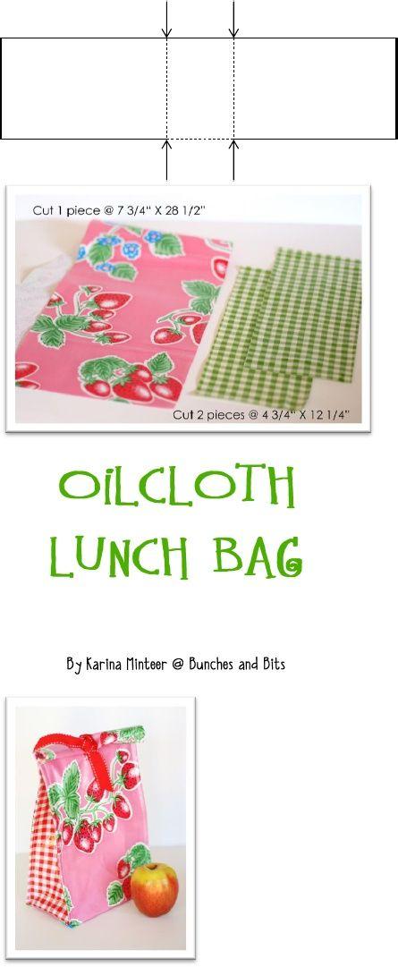 free Oilcloth Lunch Bag Tutorial   PATRONES   Pinterest   Bolsa ...