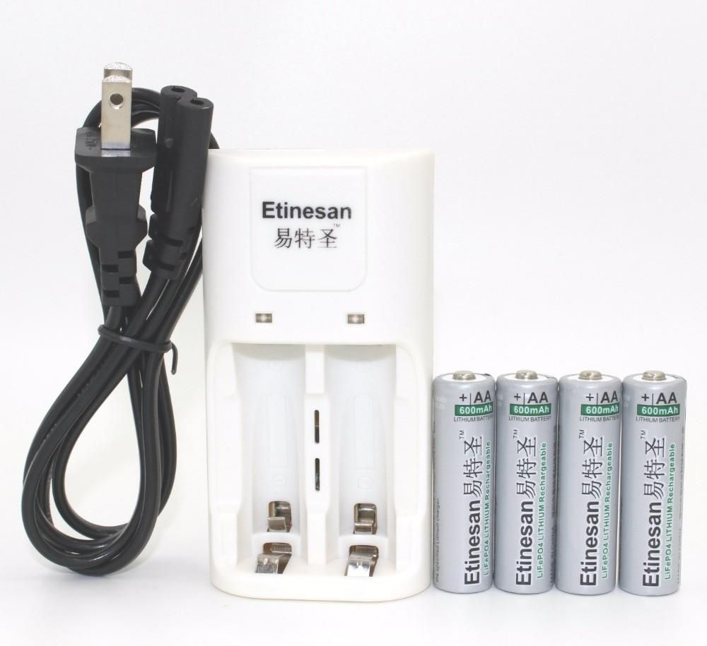 4pcs Etinesan 600mah 14500 Lifepo4 3 2v Aa Li Ion Rechargeable Battery Rechargeable Batteries Lithium Battery Charger Battery