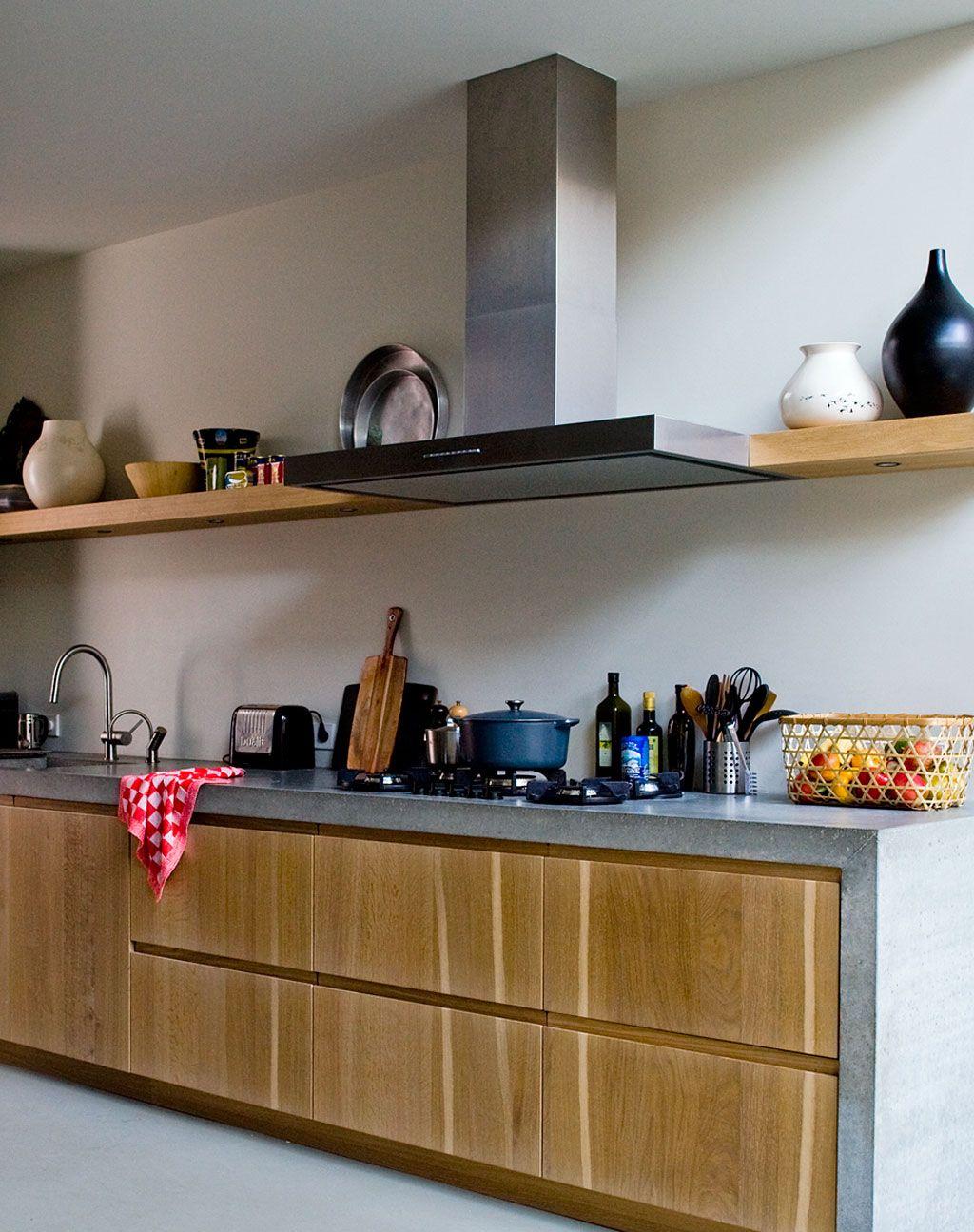 Concrete and wood  Kitchen  Pinterest  부엌, 영감 및 인테리어