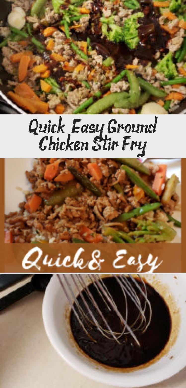 Schnell und einfach gemahlenes Hühnchen unter Rühren braten, ein gesundes Rezept für ein Abendessen...