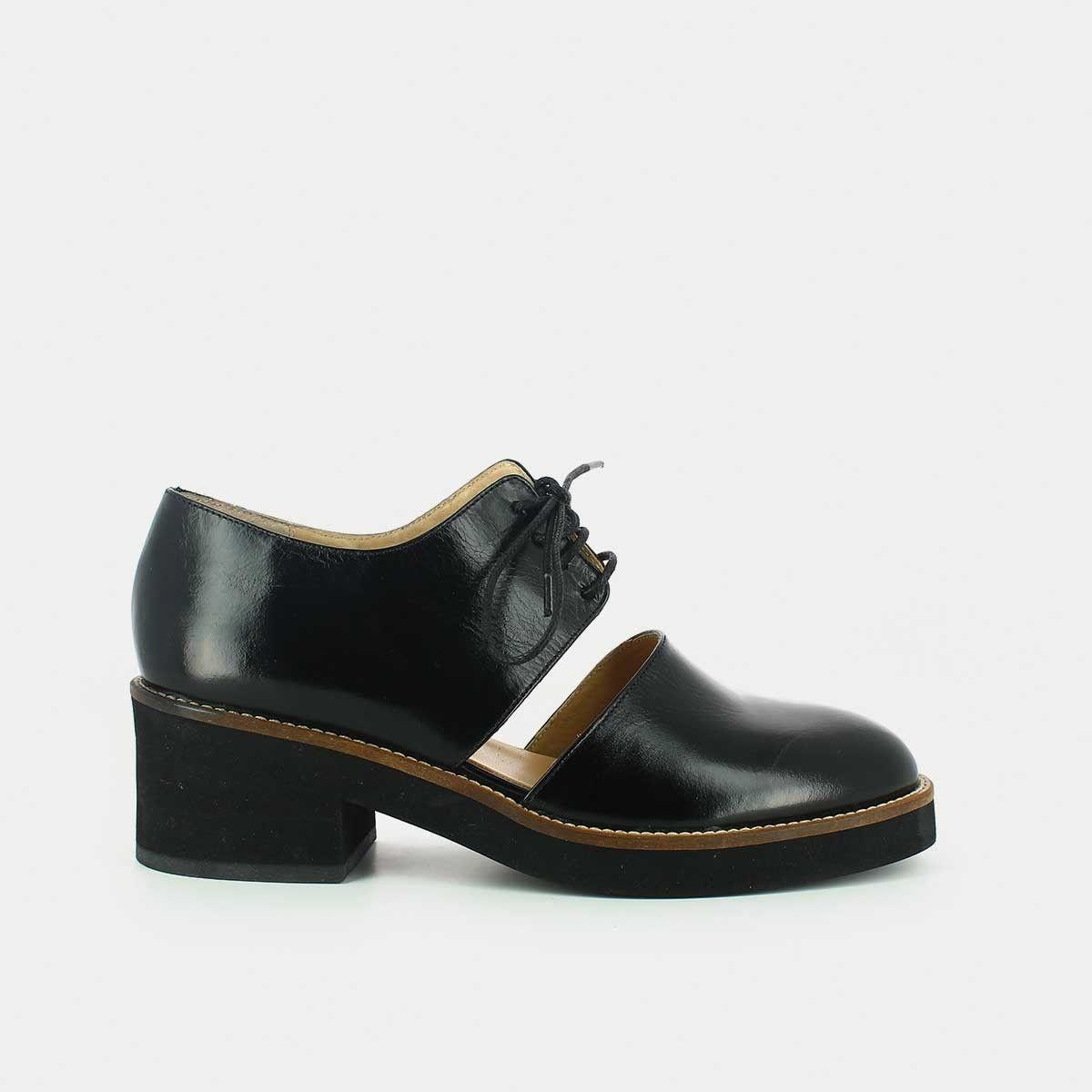 6758c4d9c6f Derbies ajourées en cuir noir - Jonak