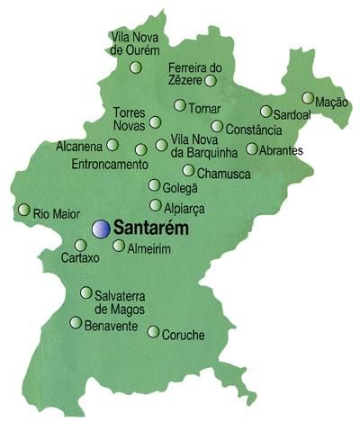 santarem mapa Mapa do Distrito de Santarém, Portugal | Chaminés algarvias 1  santarem mapa