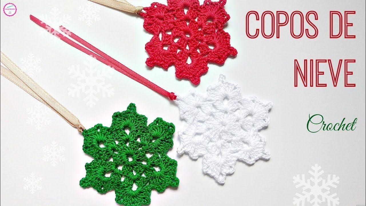 "CÃ""MO TEJER COPOS DE NIEVE CROCHET - YouTube | Christmas | Crochet ..."