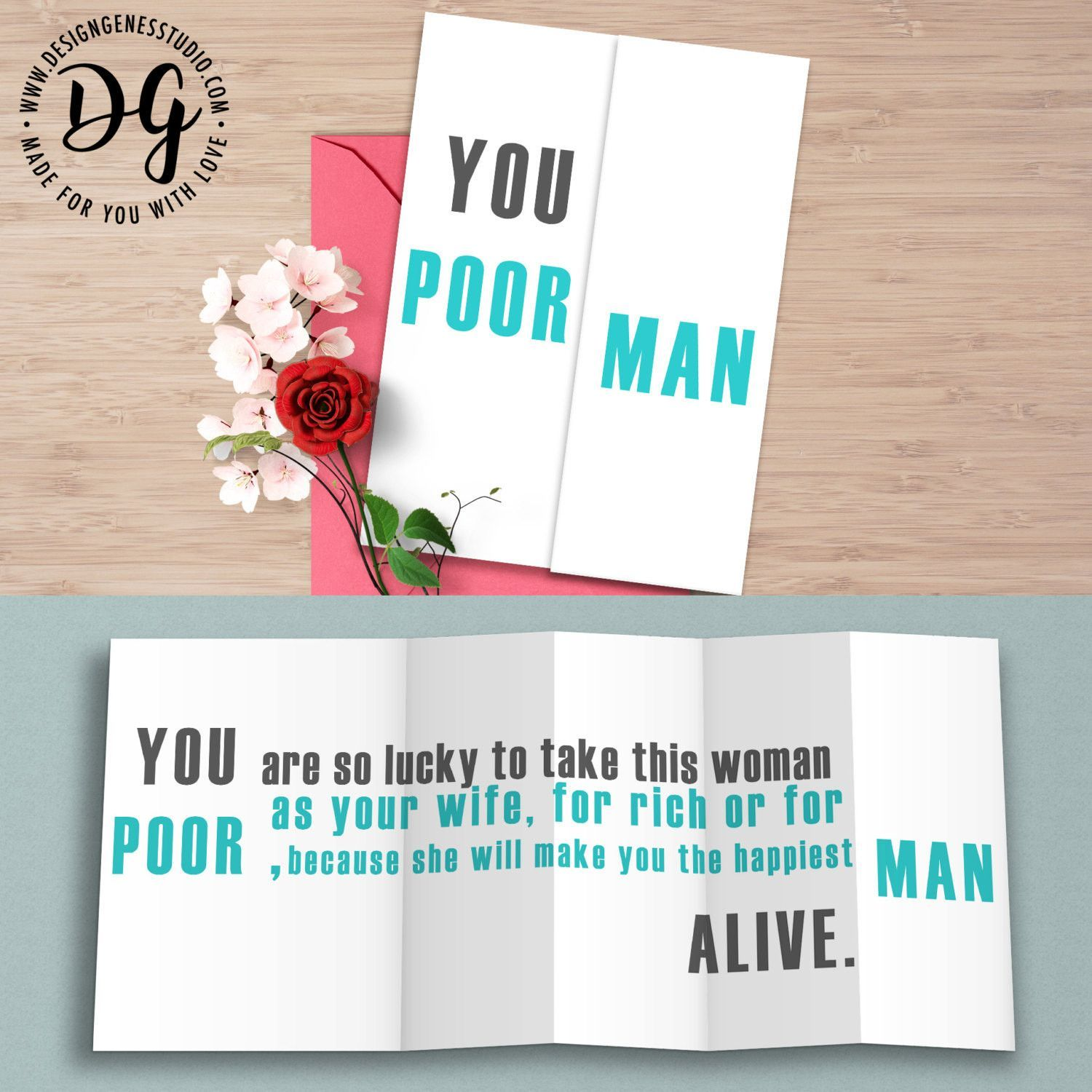 "Funny wedding card for groom ""You poor man"" sarcastic wedding card"