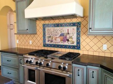 Patterned Tile Frame Around Tile Mural Behind Stove With Diamond
