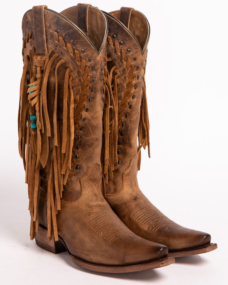 8411c8c8b74 Ariat Women's Brown Dusted Wheat Fringe Cowgirl Boots - Snip Toe ...