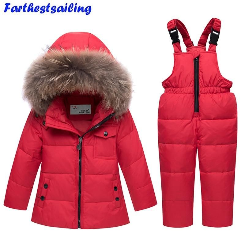 05b6786516ed New 2 PC Winter Toddler s Duck Down Faux Fur Snowsuit