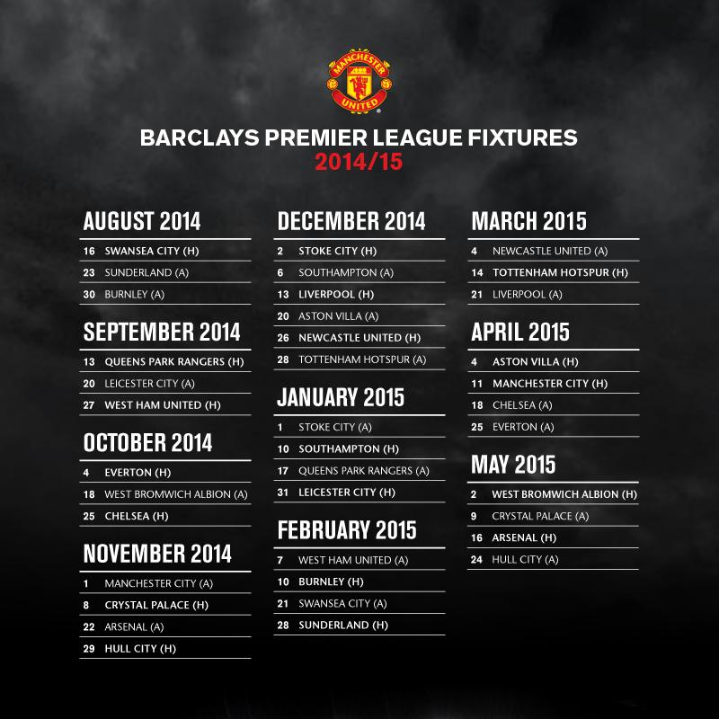 2014 2015 Fixtures Manchester United 2014 City H Premier League Fixtures
