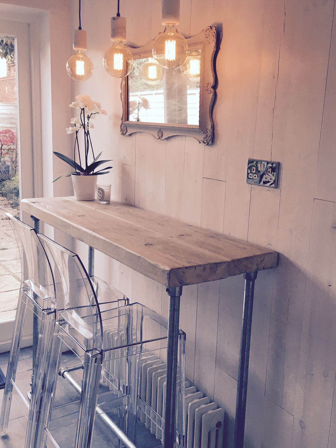 industrial style whitewashed reclaimed wood scaffold breakfast bar