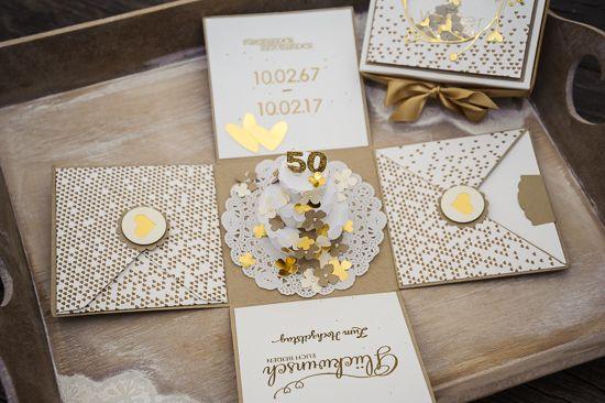 Explosionsbox Zur Goldenen Hochzeit Geschenke Zur Goldenen Hochzeit Goldene Hochzeit Karte Hochzeit