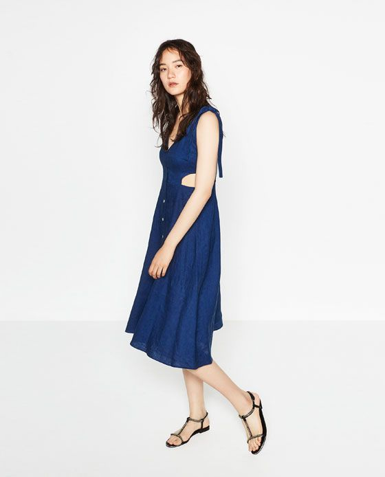 77d6da2945 $100 ZARA - WOMAN - CUT-OUT LINEN DRESS | Zara Picks | Dresses ...