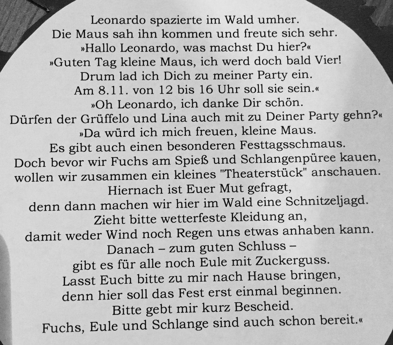 Text Einladung Grüffelo Geburtstagsparty