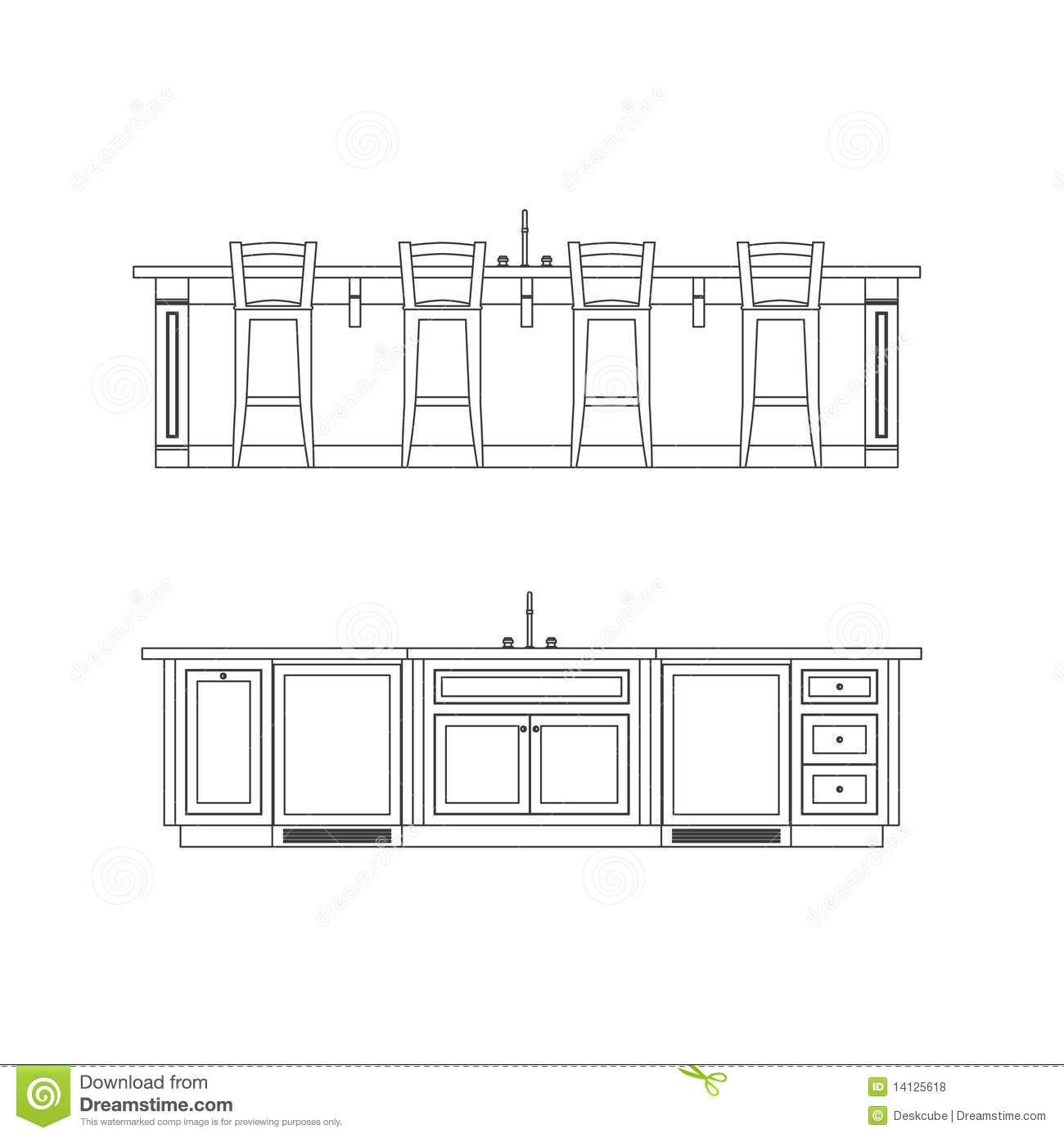 Kitchen Sink Drawing: Kitchen Island Elevation Drawing With Sink
