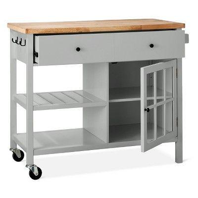 Windham Wood Top Kitchen Island Gray Threshold Kitchen Tops