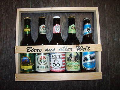 5 Fl internationales Bier im Holzträgersparen25 , sparen25de