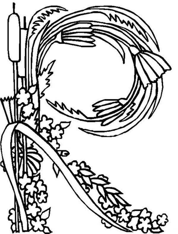 flowers letter r coloring pages