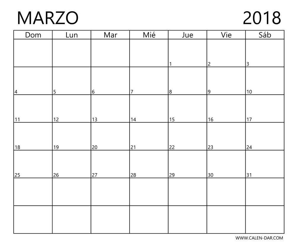 Calendario imprimible en blanco Marzo 2018 Imagen gratis | Animales ...