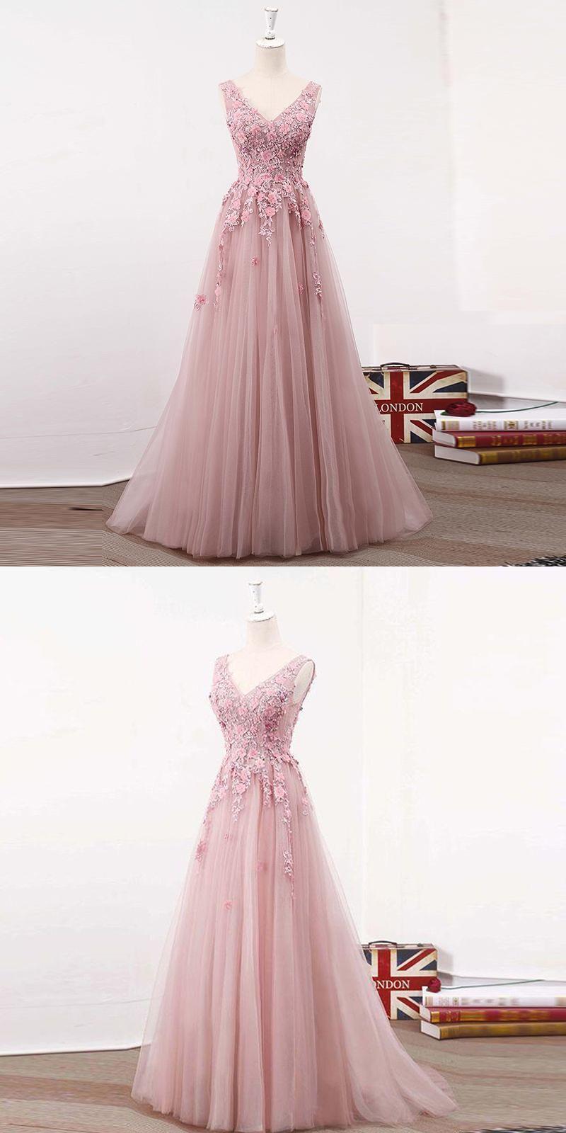 Elegant aline vneck sleeveless pink tulle long prom dress with