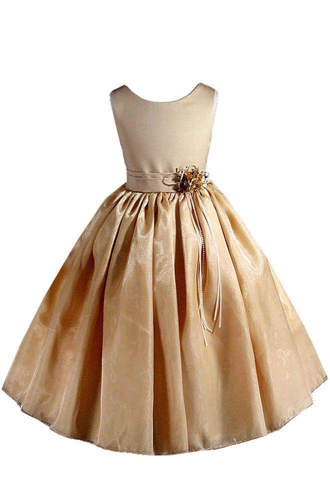 35b60389487 AMJ Dresses Inc Little Girls Elegant Gold Flower Girl Pageant Dress ...
