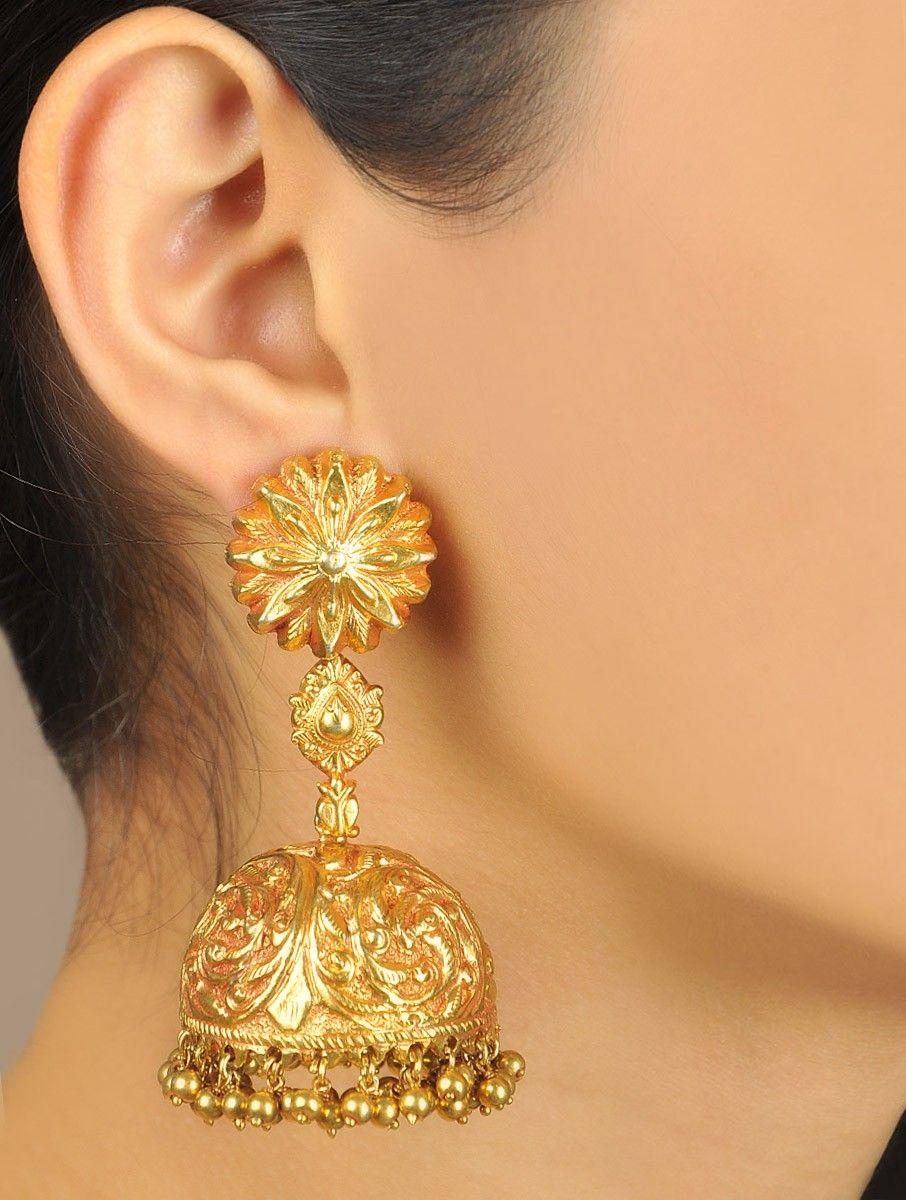 Floral Jaal Temple Jhumka Earrings | Jhumkis / Jhumkas