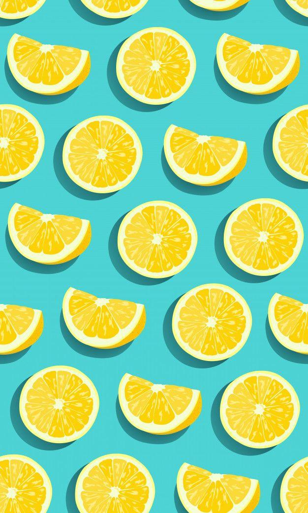 Lemon fruits slice seamless pattern Prem... | Premium Vector #Freepik #vector #background #pattern #food #texture