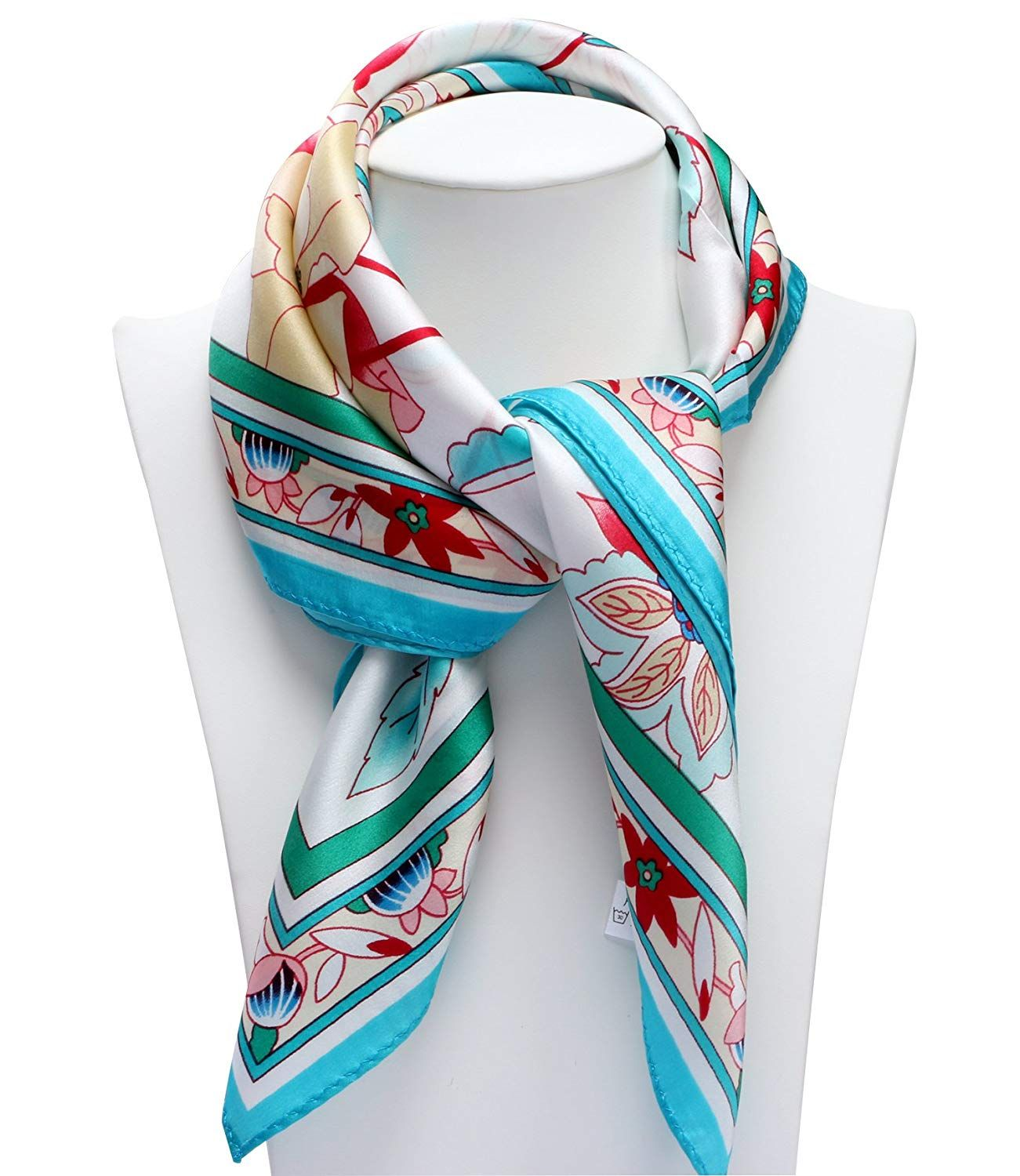 100 Silk Scarf Neckerchief Small Square Print Scarves Women Flower With Fruits White Pink At Amazon Women S Clothing Scarf Print Womens Scarves Neckerchiefs