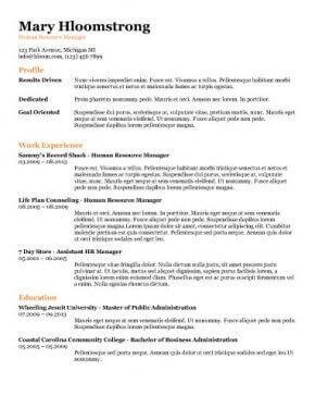 all the information resume template