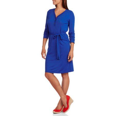 Concepts Women's Belted Henley Dress, Size: Small, Blue