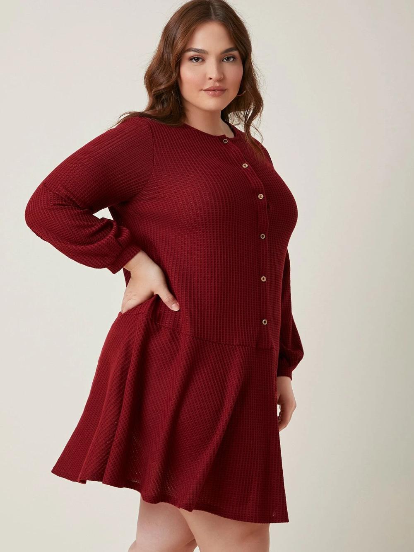 Plus Button Front Ruffle Hem Waffle Knit Dress Shein Usa Knit Dress Dresses Waffle Knit [ 1332 x 1000 Pixel ]