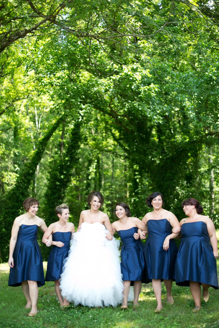 Dresses for 50th wedding anniversary party  Strapless Navy ALine Bridesmaid Dresses  Her uMaids   Pinterest