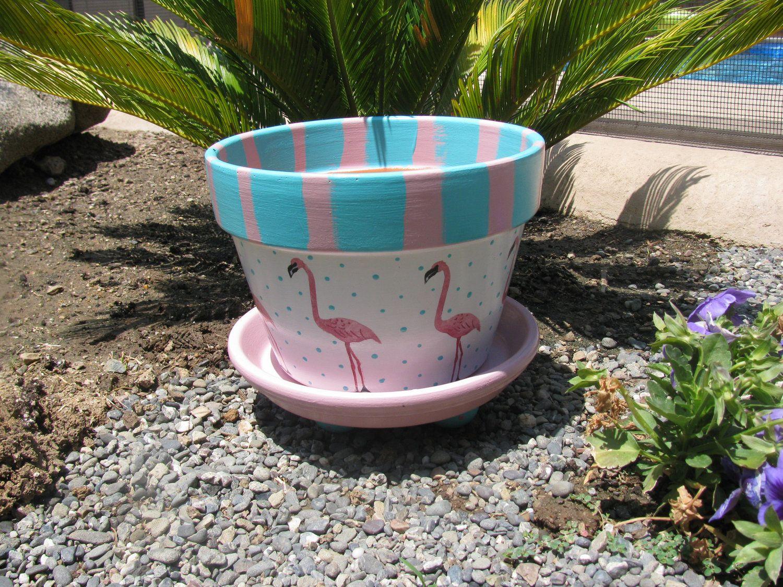 Flamingo Flower Pot Decorated Flower Pots Flamingo Flower Painted Flower Pots
