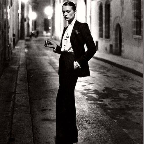 "Top 100 moments in Fashion #76 :   Yves St. Laurent and Le Smoking  (1960s)  http://bit.ly/xlksWb ________________________________ In 1966, Yves Saint Laurent debuted his alternative to the Little Black Dress. It was a slim, feminine version of the male tuxedo, and he called it ""Le Smoking."" It pioneered a minimalist, androgynous aesthetic that would be turned to again and again through the power suit and trouser suits of the future... #styloot.com #Fashion"