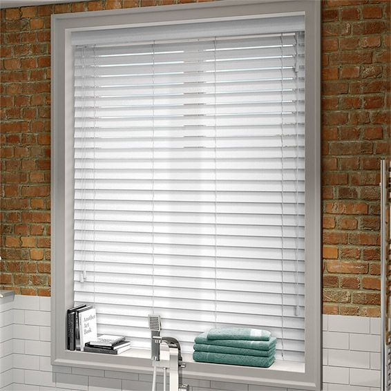 Arctic White Faux Wood Blind 50mm Slat Faux Wood