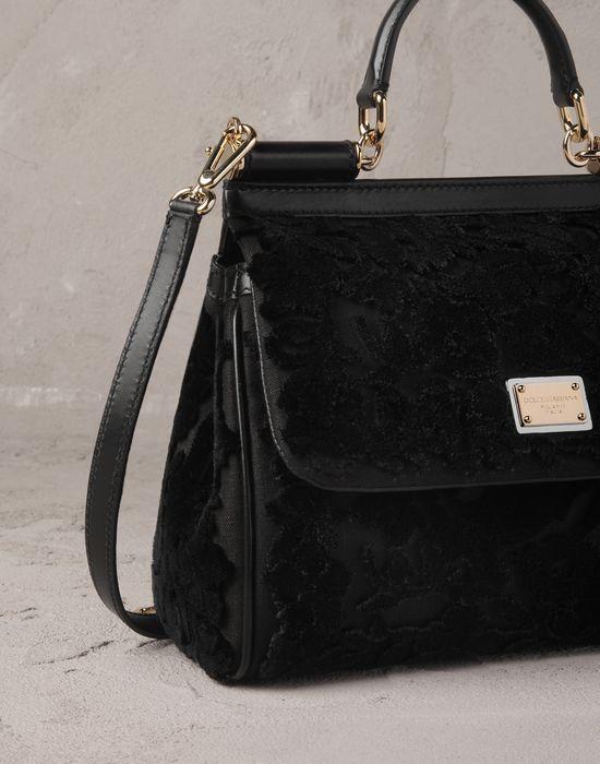 MID-SIZED EMBROIDERED VELVET SICILY BAG - Medium fabric bags - DolceGabbana - Summer 2014