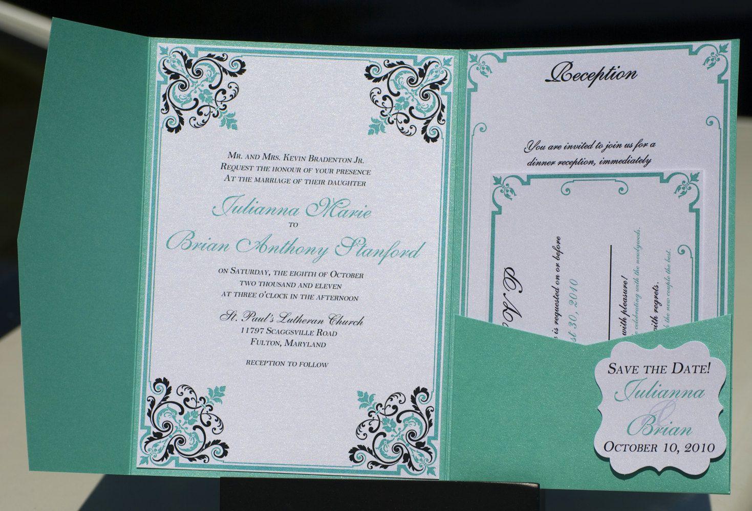 Turquoise and Black Wedding Invitation - Black and Tiffany Blue ...