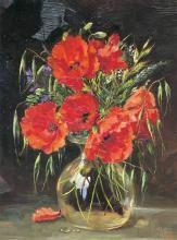 Field Poppies - Birthday Card by Anne Cotterill Flower Art