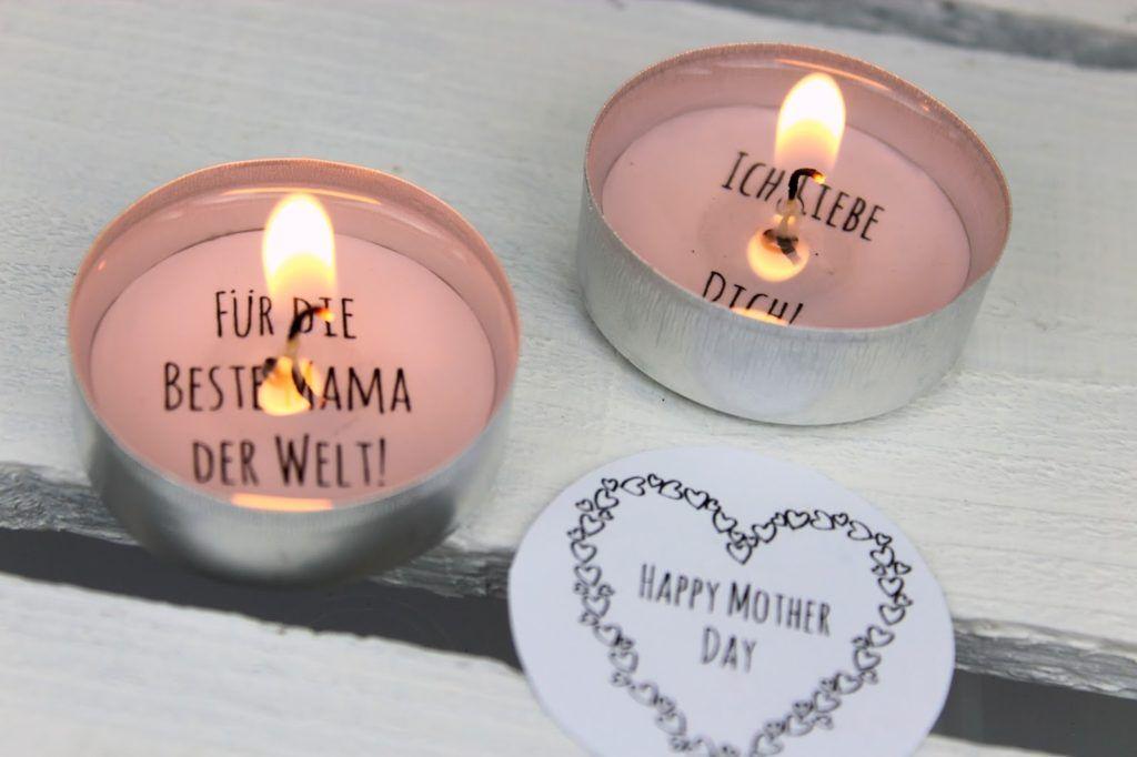 DIY Geschenk zum Muttertag - Teelicht mit Liebesbotschaft selber machen (+ kostenlose Vorlage)