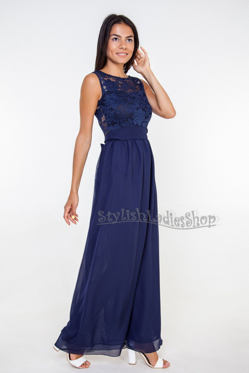Bridesmaid dress navy blue long bridesmaid navy lace bridesmaid dark