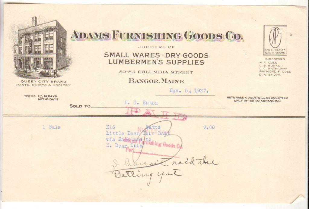 1927 Letterhead Invoice Billing Adams Furnishing Goods Co Bangor - invoice billing