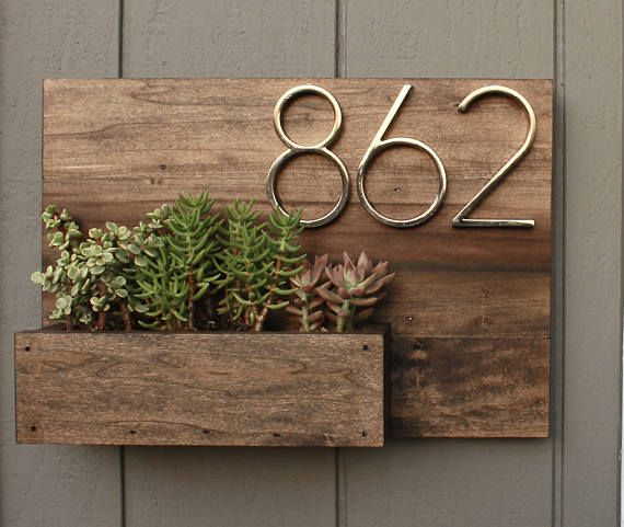 This House Number Planter Box Makes The Perfect Addition To Any Front Porch We Start By Staining Poplar Wood A Dark House Numbers Wood Table Diy Flower Boxes