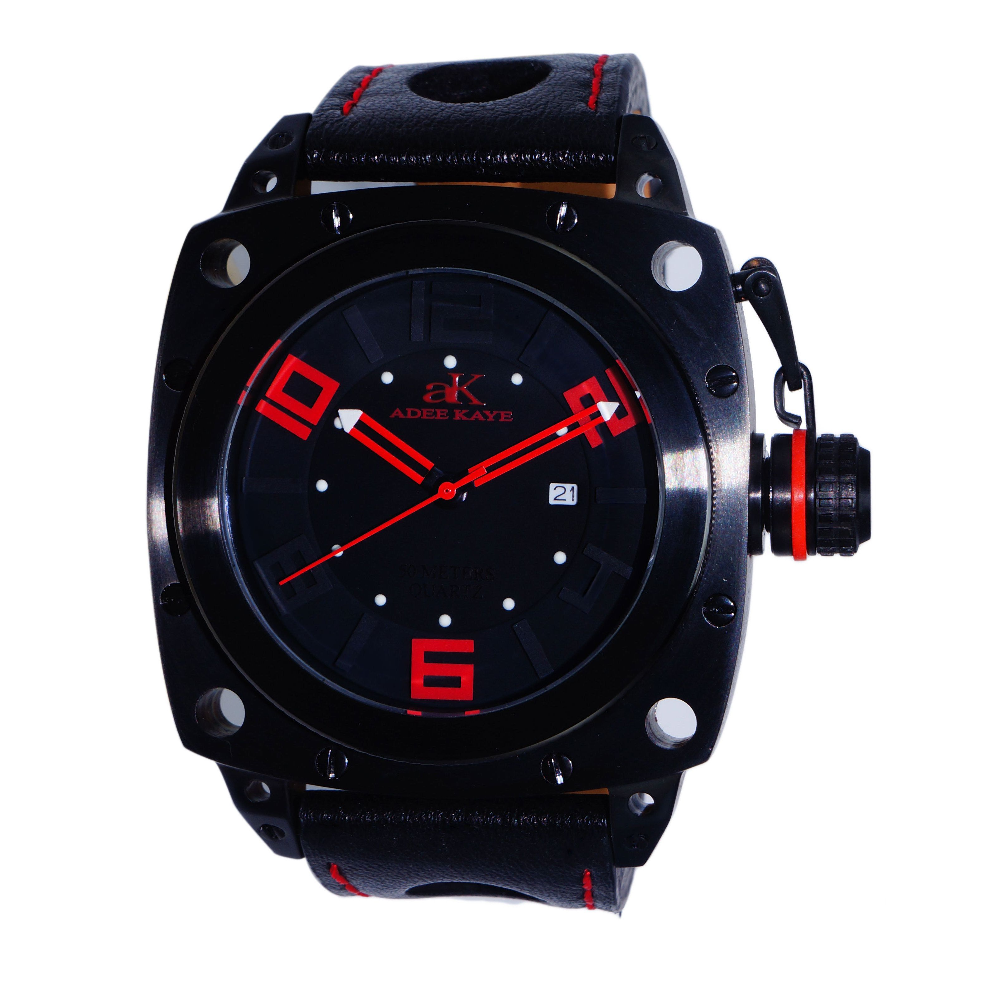 Adee Kaye Men's AK7271 / Red Stainless Steel Watch