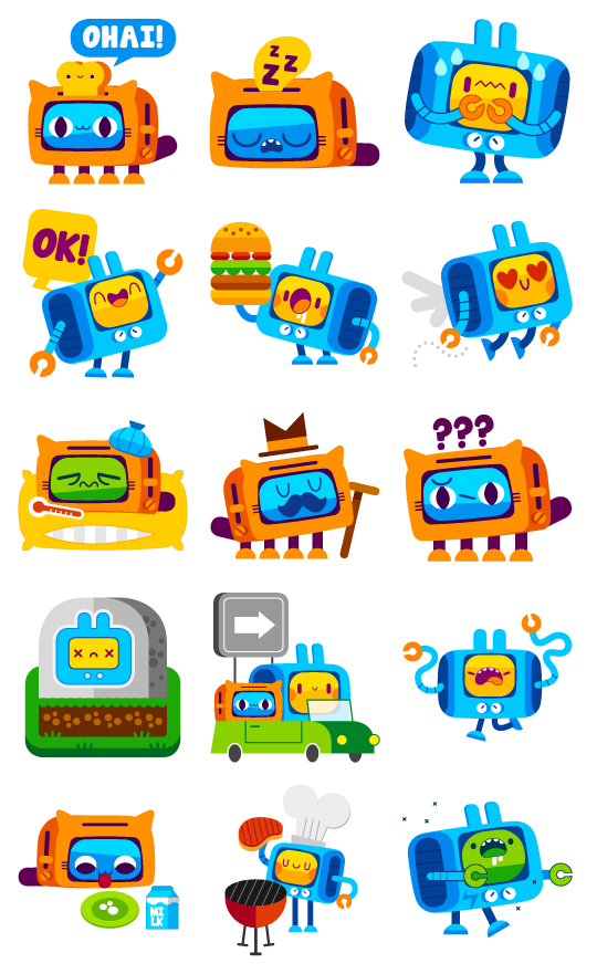 Ed & Tess - Social messenger app stickers on Behance